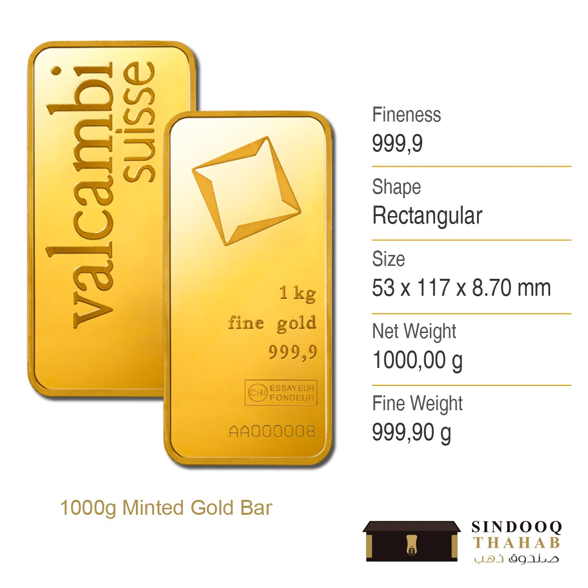 1000g Minted Gold Bar