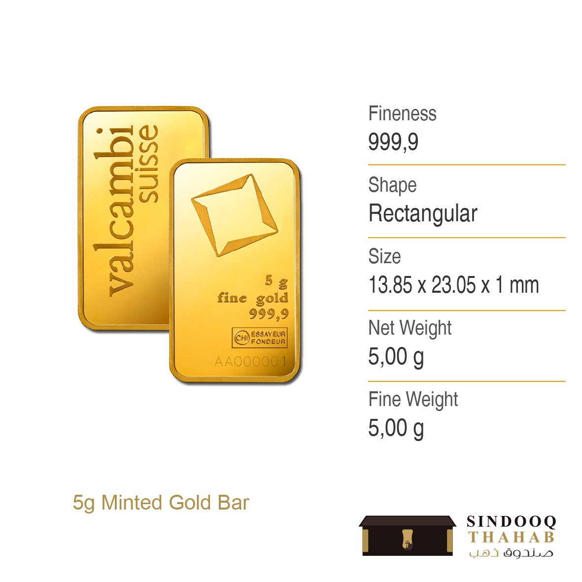 5g Minted Gold Bar