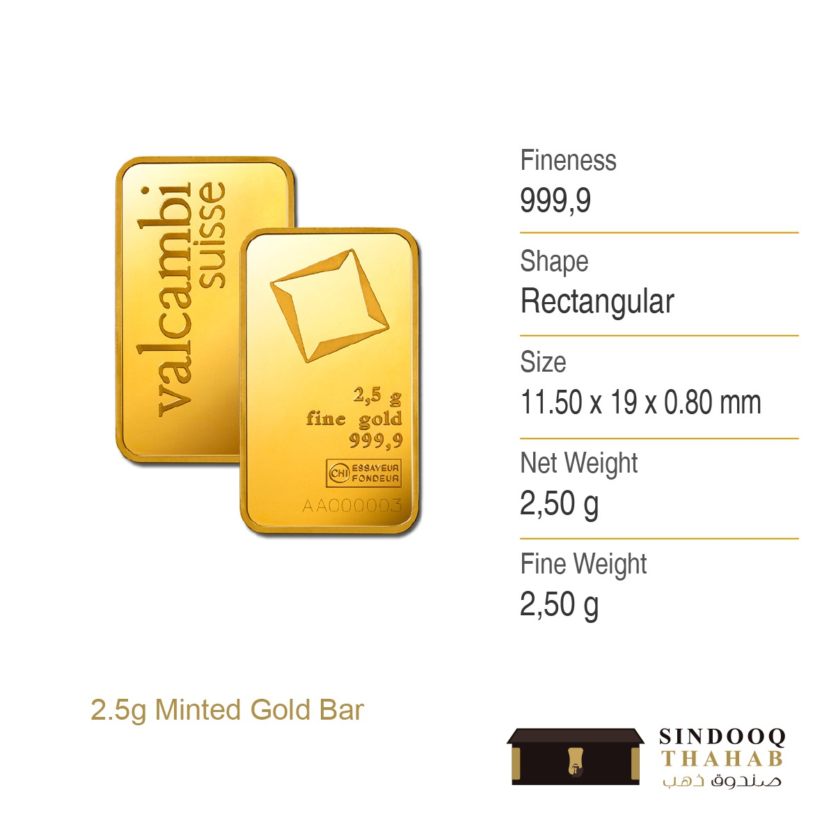 2.5g Minted Gold Bar