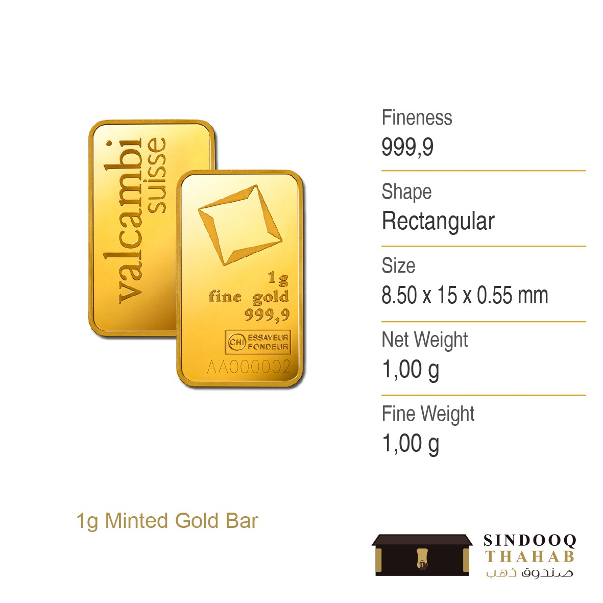 1g Minted Gold Bar